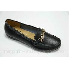 Женские мокасины allshoes из натуральной кожи черного цвета. Украина