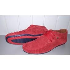 Мужские замшевые мокасины на шнурках красного цвета. Украина 0001 красн