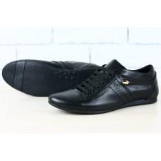 Мужские спортивные туфли черные Lacoste кожаные. 1909