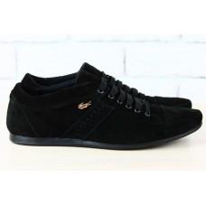 Мужские спортивные туфли черные Lacoste замшевые. 1909 ч/з