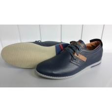 Мужские кожаные туфли синего цвета на шнурках. Харьков