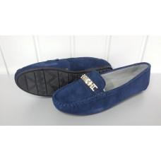 Мокасины allshoes синего цвета из натуральной замши. Украина.