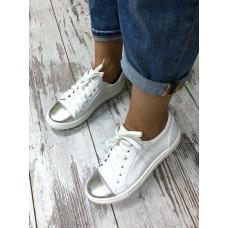 Кеды с серебренным носком. Натуральная кожа. 787