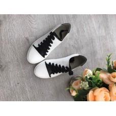 Женские кожаные кеды бело-черные. Украина