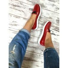 Женские мокасины кожаные красные копия Gucci. Украина