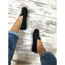 Женские мокасины кожаные черные копия Gucci. Украина