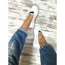Женские мокасины кожаные белые копия Gucci. Украина