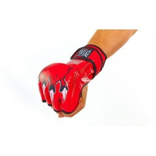 Перчатки для смешанных единоборств MMA PU ELAST BO-3207-R (р-р S-XL, красный)