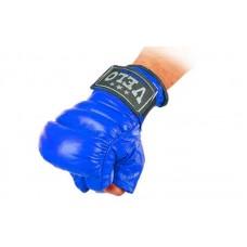 Перчатки боевые Full Contact с эластичным манжетом на липучке Кожа VELO ULI-4012-B (р-р S-XL, синий)