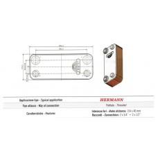 Теплообменник вторичный, пластинчатый Zilmet для Hermann PP18FW6R02