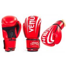 Перчатки боксерские на липучке VENUM 10-12oz, красный. Рукавички боксерські