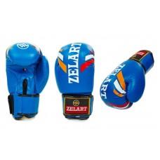 Перчатки боксерские на липучке ZELART синие 10-12oz. Рукавички боксерські