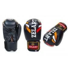 Боксерские перчатки на липучке ZELART 10-12oz, черные. Рукавички боксерські
