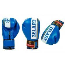 Перчатки боксерские ZELART на липучке 10-12oz, черный, красный, синий. Рукавички боксерські