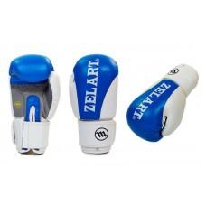 Перчатки боксерские кожаные ZELART. Рукавички боксерські