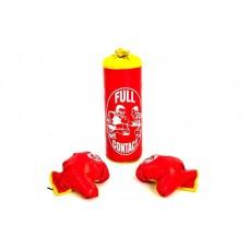 Боксерский набор детский (перчатки+мешок) h39, d-14 черный красный. Боксерський набір дитячий