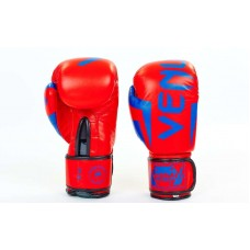 Перчатки боксерские кожаные на липучке VENUM  10-12oz. Рукавиці боксерські