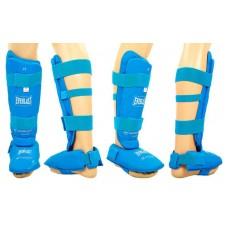 Защита голени с футами для единоборств PU ELAST BO-3958-B (р-р S-XL, синий)