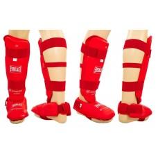 Защита голени с футами для единоборств PU ELAST BO-3958-R (р-р S-XL, красный)