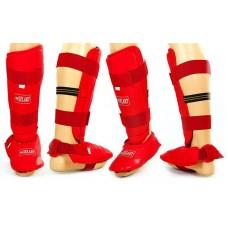 Защита голени с футами для единоборств PU ZEL BO-3719-R (р-р S-XL, красный)