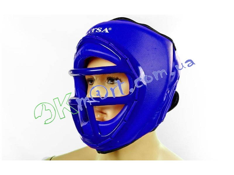 Шлем для единоборств с пластиковой маской PVC MATSA ME-0133-PVC(B) (синий, регулируемый размер)