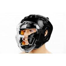 Шлем для единоборств с прозрачной маской FLEX ELAST ZB-5209E-BK (черный, р-р M-XL)