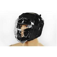 Шлем для единоборств с прозрачной маской PU ZEL ZB-5209-BK (черный, р-р M-XL)