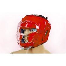 Шлем для единоборств с прозрачной маской кожаный ZEL ZB-5009-R(XL) (красный, р-р XL)