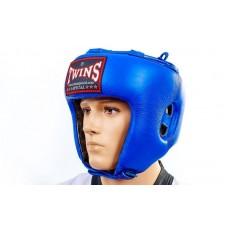 Шлем боксерский открытый Кожа TWINS HGL-8-BU (р-р M-XL, синий)