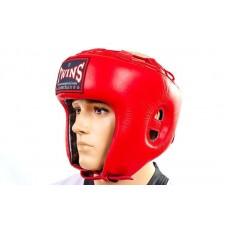 Шлем боксерский открытый Кожа TWINS HGL-8-RD (р-р M-XL, красный)