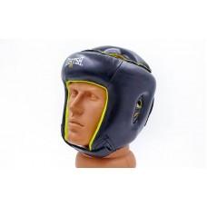 Шлем боксерский открытый с усиленной защитой макушки кожаный MATSA MA-4002-M(BK) (черный, р-р регул)