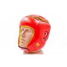 Шлем боксерский открытый с усиленной защитой макушки кожаный MATSA MA-4002-M(R) (красный, р-р регул)