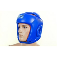 Шлем боксерский открытый с усиленной защитой макушки PU ELAST BO-4492-B (синий, р-р S-L)