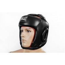 Шлем боксерский открытый с усиленной защитой макушки PU ELAST BO-4492-BK (черный, р-р S-L)