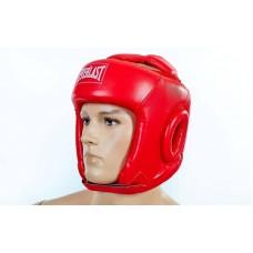 Шлем боксерский открытый с усиленной защитой макушки PU ELAST BO-4492-R (красный, р-р S-L)
