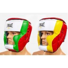 Шлем боксерский с полной защитой PU ELAST MA-010-PU (красный-салат-бел, красный-желт-бел, р-р L-XL)