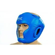 Шлем боксерский с полной защитой кожаный ELAST ME-0147-L(B) (синий, регулируемый размер)