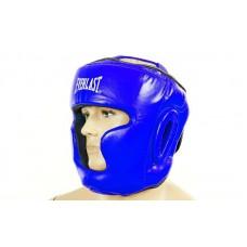 Шлем боксерский с полной защитой кожаный ELAST ZB-5007E-B (синий, р-р M-XL)