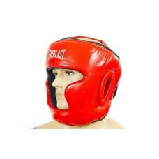 Шлем боксерский с полной защитой кожаный ELAST ZB-5007E-R (красный, р-р M-XL)