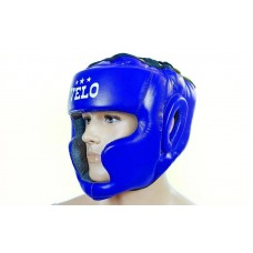 Шлем боксерский с полной защитой кожаный VELO ULI-5005-B(XL) (синий, р-р XL)
