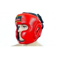 Шлем боксерский с полной защитой кожаный ZEL ZB-5007-R (р-р S-XL, красный)