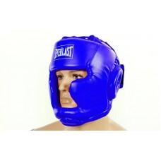 Шлем боксерский с полной защитой PU ELAST BO-3954-B (синий, р-р S-L)