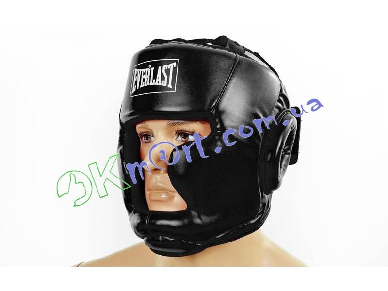 Шлем боксерский с полной защитой PU ELAST BO-3954-BK (черный, р-р S-L)