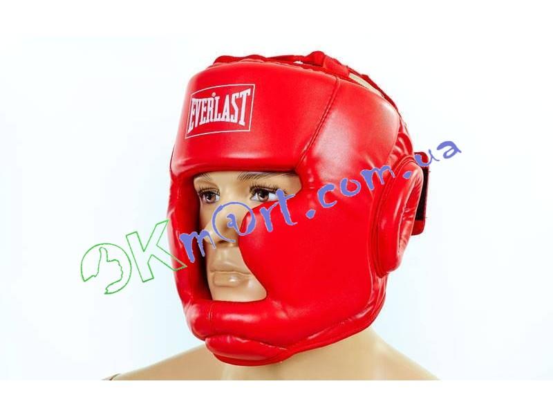 Шлем боксерский с полной защитой PU ELAST BO-3954-R (красный, р-р S-L)