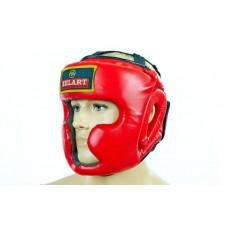 Шлем боксерский с полной защитой PU ZB-5207-R (красный, р-р M-XL)