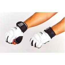 Перчатки для тхэквондо с фиксатором запястья MOOTO BO-5078-W (PU, полиэстер S-XL, белый)