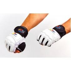 Перчатки для тхэквондо с фиксатором запястья WTF BO-2310-W (PU, полиэстер XS-XL, белый)