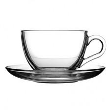 Чашка с блюдцем Pasabahce Basik 97948